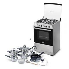 Cocina a Gas Miray Gardenia 4 Hornillas + Juego de Ollas Miray JOM-1302