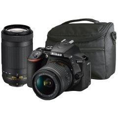 Cámara Réflex Kit con 2 lentes D5600 18-55 VR y 70-300 + bolso