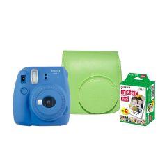 Cámara Instax Fujifilm Mini 9 Azul Cobalto + Estuche + Pack 20 fotos