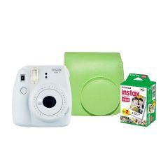 Cámara Instax Fujifilm Mini 9 Blanco Humo + Estuche + Pack 20 fotos