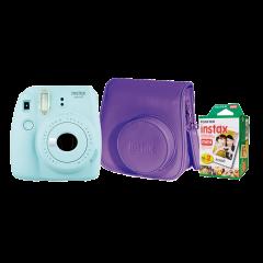 Cámara Instax Fujifilm Mini 9 Celeste + Estuche + Pack 20 fotos