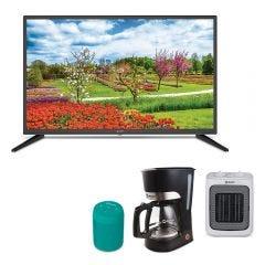 "TV Miray LED HD 32"" ME32-K500 +  Estufa Termo Ventilador Miray ETM-31B + Parlante Portátil Miray PMBT-49V + Cafetera Miray CM-838"