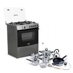 Cocina a gas Miray Menta 5 hornillas + Juego de Ollas Miray JOM-1302