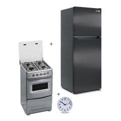 Refrigeradora Miray RM-138H Eurofrío 138L + Cocina GLP Miray CMS-20T 4 Hornillas + Reloj Pared Miray RMP-83