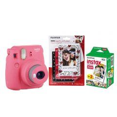 Cámara Instax Mini9 Rosa Flamingo + Minimarcos + 20F