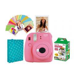 Cámara Instax Mini9 Azul Rosa Flamingo + Álbum Sticker + 20 Fotos