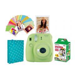 Cámara Instax Mini9 Azul Verde Limón + Álbum Sticker + 20 Fotos
