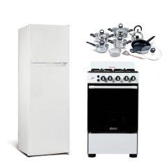 Refrigeradora Miray RM-168H Eurofrío 168L + Cocina a Gas Miray Iris 4 Hornillas + Juego de Ollas Miray JOM-1302