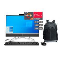 """All In One HP 22-dd0018la  21.5"""" AMD Ryzen 3 3250U 1TB 4GB RAM + Mochila para Laptop Miray MML-ENL54715-N"""