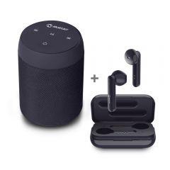 Parlante Portátil Miray PMBT-49 + Audífono In Ear Bluetooth Miray AM-TW935B-N Negro