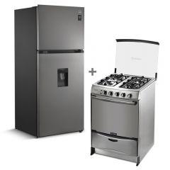 Refrigeradora Miray RM-408HID No Frost 409L + Cocina a GLP Miray Fucsia 4 Hornillas