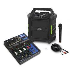 Parlante Amplificador Miray PAM-121 + Mezclador De Audio Miray MAM-401BT + Cable de Audio Miray CAMY-VC3