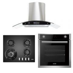 Cocina a Gas Empotrable Sole SOLCO034 4 Hornillas + Campana Extractora Sole TURE63CO 90cm + Horno eléctrico empotrable digital Sole SOLHO012 73L 2200W