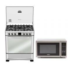 Cocina GN/GLP Mabe CMP7670FX0 5 hornillas + Horno Microonda Mabe HMM23PSX 23L
