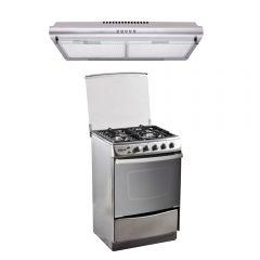 Cocina GN/GLP Klimatic Stellare 4 hornillas + Campana Extractora Klimatic IWH101IXG 60cm