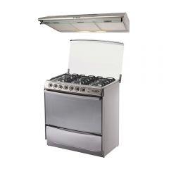 Cocina GN/GLP Klimatic Tremare 6 hornillas + Campana Extractora Klimatic CK-901IX/M/A 90cm