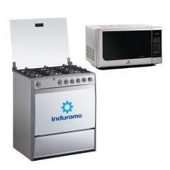 Cocina a Gas Indurama Parma 6 Hornillas + Horno Microondas Indurama MWI-20CRP 20L