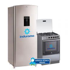 Cocina a gas Indurama Trento 4 Hornillas + Refrigeradora Indurama RI-279D Autofrost 176L