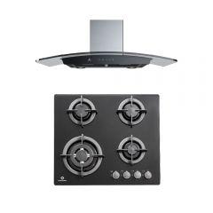 Cocina Empotrable GLP Indurama EGI-604VDNEG 4 hornillas + Campana Extractora Indurama CEI-90NEVC