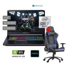 "Laptop Acer PH317-54-79LN 17.3"" Intel Core i7 10750H 512 GB SSD 16GB RAM + Silla Gamer Cybertel Legend CX1001 Blue"