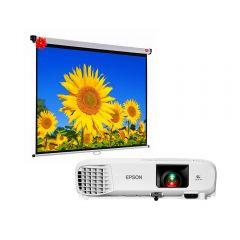Proyector Epson PowerLite E20 + Ecran de Pared Screen Roll-10016-9 FHD