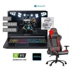 "Laptop Acer PH317-54-79LN 17.3"" Intel Core i7 10750H 512 GB SSD 16GB RAM + Silla Gamer Cybertel Legend CX1001 Red"