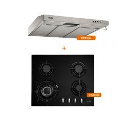 Cocina a Gas Empotrable Sole SOLCO034 4 Hornillas + Campana Extractora Sole Roma TURE15CO 60cm