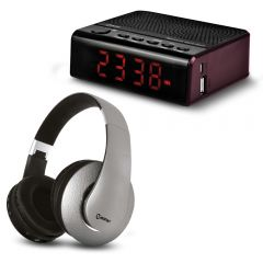 Audífonos MIRAY AM-8677B-G + Radio Reloj Miray PMBT-36R