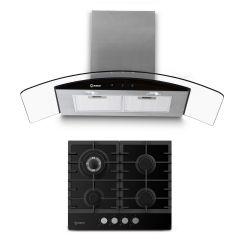 Cocina a Gas Empotrable Miray CME-60GV 4 Hornillas + Campana Extractora Miray CEMD-97