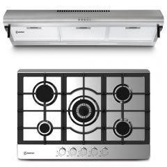 Cocina a Gas Empotrable Miray CME-76GA 5 Hornillas + Campana Extractora Miray CEM-92