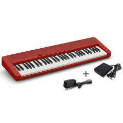 Órgano Electrónico Casio CT-S1RD Rojo + Adaptador Miray AM-94 + Pedal de piano Casio SP-3H2
