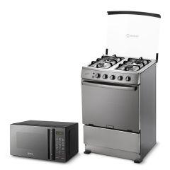 Cocina a Gas Miray Gardenia 4 Hornillas + Horno microondas Miray HMM-21N