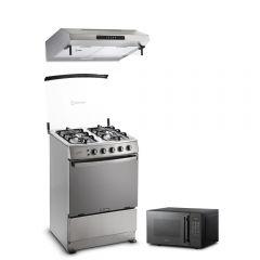 Cocina a GLP Miray Gardenia 4 Hornillas + Campana Extractora Miray CEM-61 + Horno microondas Miray HMM-21N