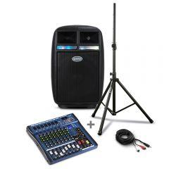 Parlante Amplificador Miray PAM-112 + Mezclador De Audio Miray MAM-801BT + Soporte P/Parlante Miray - SPM-02 + Cable de Audio Miray CAMY-VC3