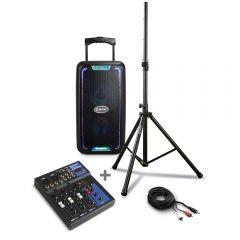 Parlante Amplificador Miray PAM-117 + Mezclador De Audio Miray MAM-401BT + Soporte P/Parlante Miray - SPM-02 + Cable de Audio Miray CAMY-VC3
