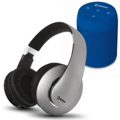 Parlante Portátil Miray PMBT-49A + Audífonos MIRAY AM-8677B-G Over Ear Gris