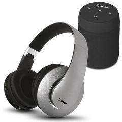 Parlante Portátil Miray PMBT-49 + Audífonos MIRAY AM-8677B-G Over Ear Gris
