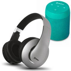 Parlante Portátil Miray PMBT-49V + Audífonos MIRAY AM-8677B-G Over Ear Gris