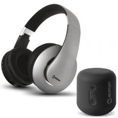 Parlante Portátil Miray PMBT-51N + Audífonos MIRAY AM-8677B-G Over Ear Gris
