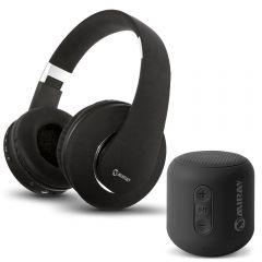 Parlante Portátil Miray PMBT-51N + Audífonos MIRAY AM-8677B-N Over Ear Negro