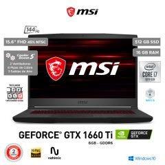 "Laptop Gamer MSI GF65 Thin 10SDR 15.6"" Intel Core i7 10750H 512GB SSD 16GB RAM"