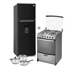 Refrigeradora Miray RM-348H No Frost 345L + Cocina a GLP Miray Fucsia 4 Hornillas + Juego de Ollas Miray JOM-50 5pzas