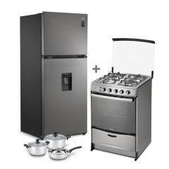 Refrigeradora Miray RM-408HID No Frost 409L + Cocina a GLP Miray Fucsia 4 Hornillas + Juego de Ollas Miray JOM-50 5pzas