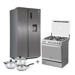 Refrigeradora Miray RM-555HID No Frost 559L + Cocina a GLP Miray GLADIOLO 5 hornillas + Juego de Ollas Miray JOM-50 5pzas