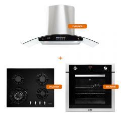 Cocina a Gas Empotrable Sole SOLCO034 4 Hornillas + Campana Extractora Sole TURE63CO 90cm + Horno a gas empotrable digital Sole SOLHO007 70L 13W
